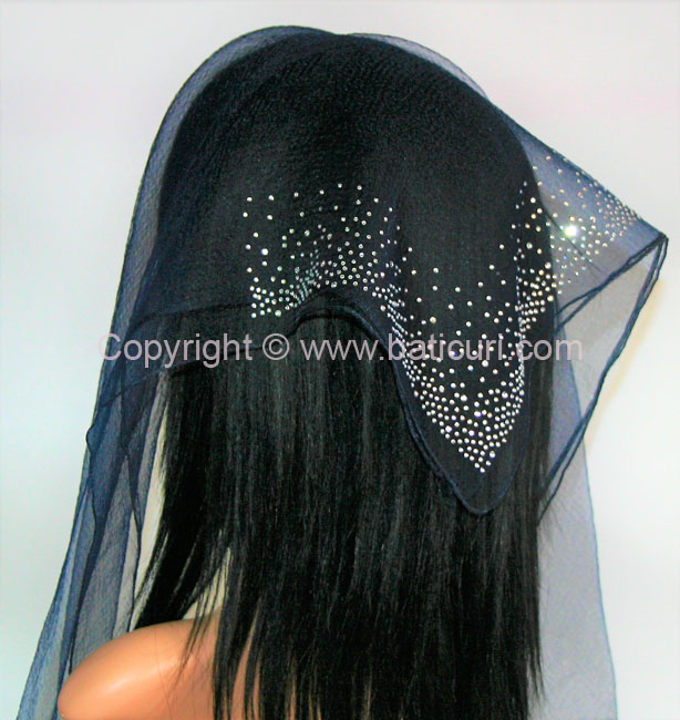 SQ Solid Rhinestone Waterfall Corner- Midnight Navy