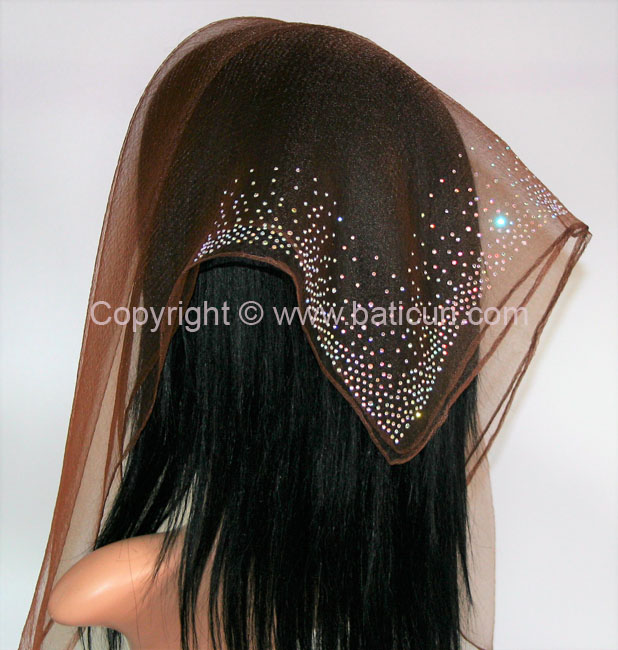 SQ Solid Rhinestone Waterfall Corner- Chocolate Brown