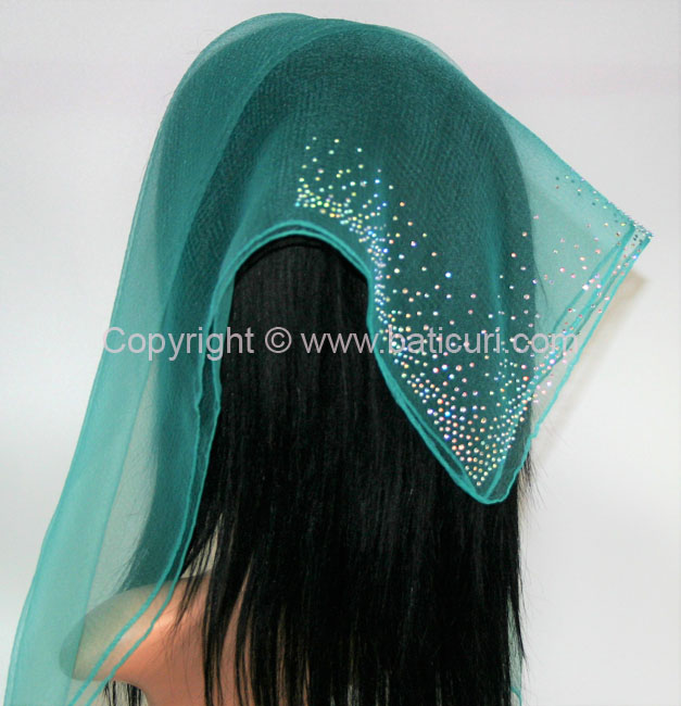 SQ Solid Rhinestone Waterfall Corner- Green Turquoise
