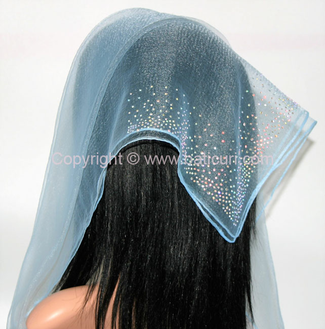 SQ Solid Rhinestone Waterfall Corner- Light Blue
