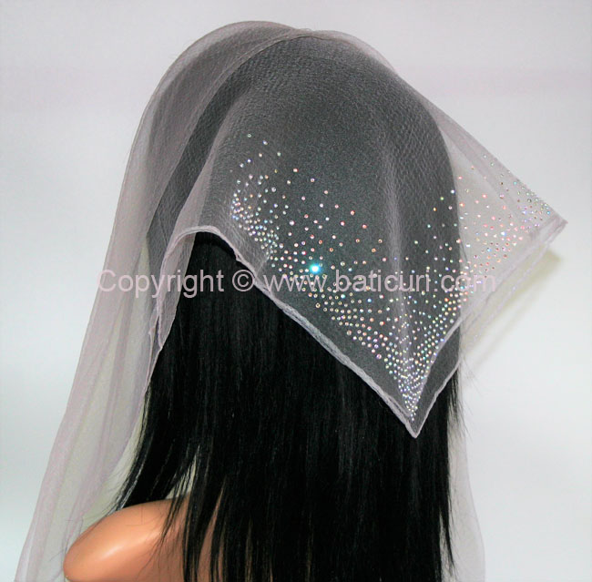 SQ Solid Rhinestone Waterfall Corner- Powder Grey