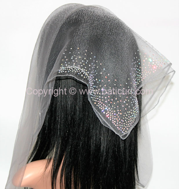 SQ Solid Rhinestone Waterfall Corner- Dark Grey