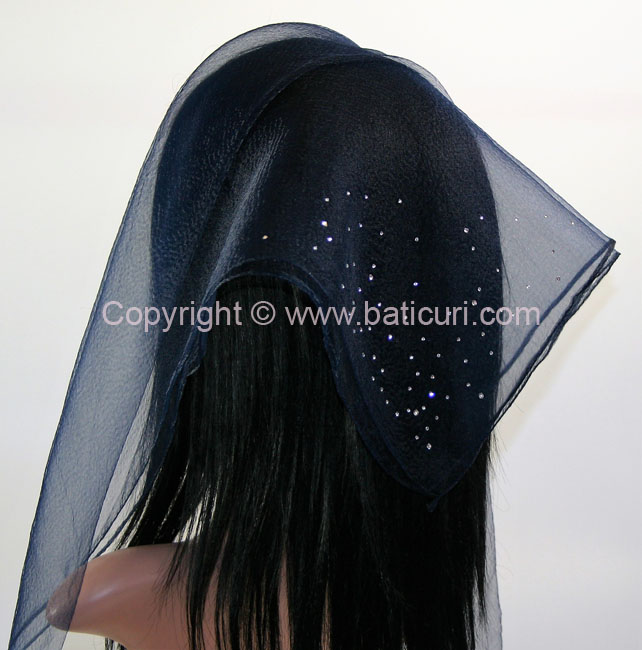SQ Solid Rhinestone Dense Scattered Corner- Midnight Navy