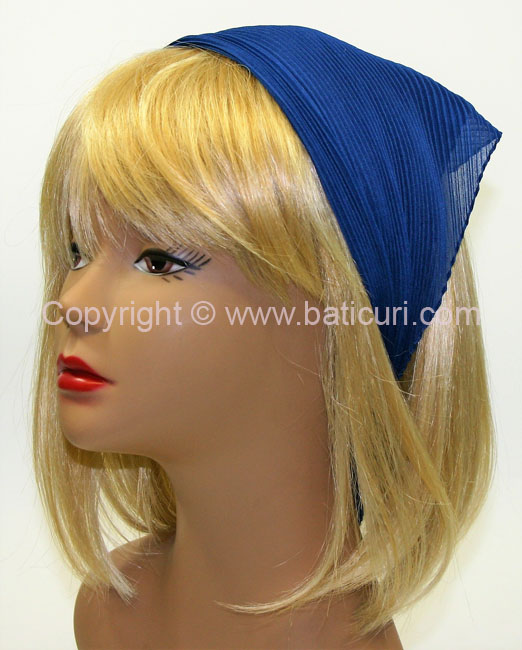 100-24 Italian Pleated Solid Scarves- Dusty Royal Blue