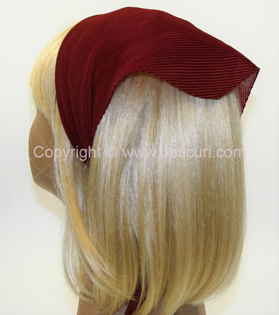 100-155 Italian Pleated Solid Scarves- Maroon
