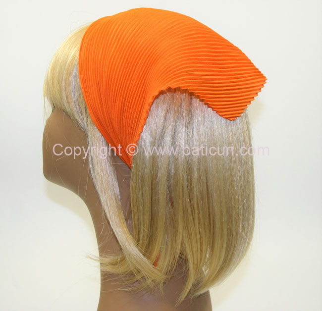 100-121 Italian Pleated Solid Scarves- Orange