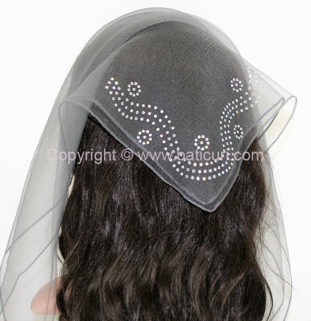 New SQ Solid Rhinestone Dotted Spiral- Dark Grey