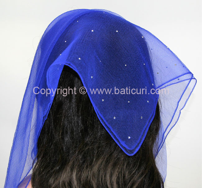 SQ Solid Rhinestone Scattered Corner- Royal Blue