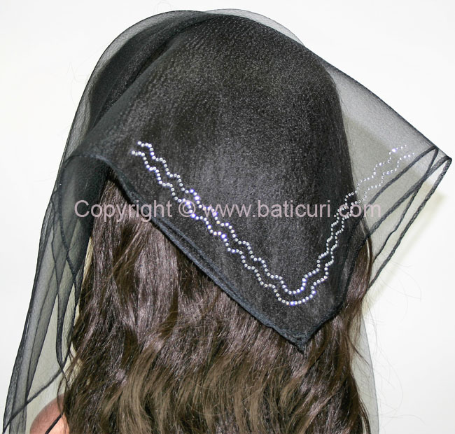 SQ Solid Rhinestone Double Zig-zag- Black