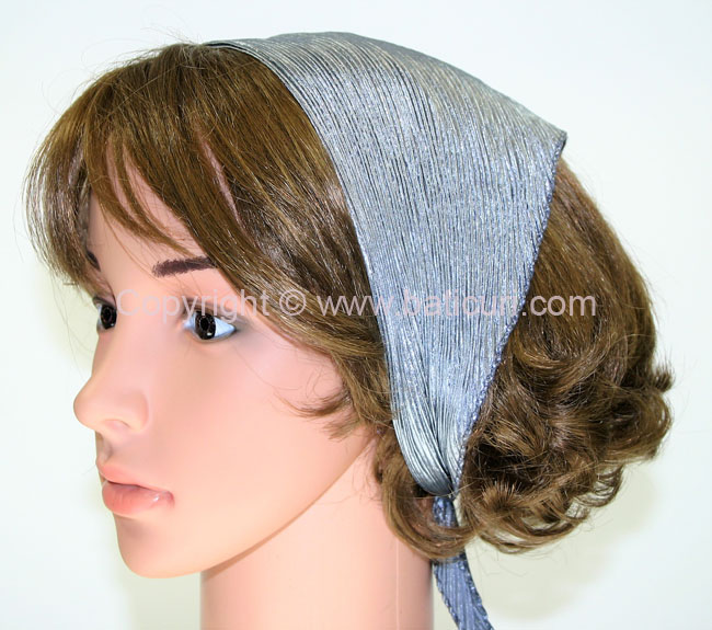 99-42 Polyester Silky Feel Pleated Scarves- Silver Grey