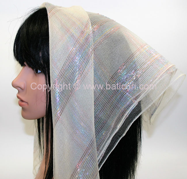 #15 SQ Nylon Rainbow Scarves- Cream