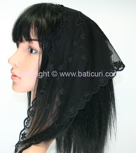 New! Long Lace Triangle Embroidery Scarf- Black