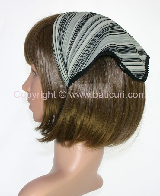 105-39 Italian pleated with two tone dense lines design- Grey