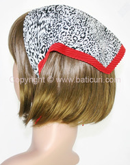 107-45 Italian pleated leopard design with red border