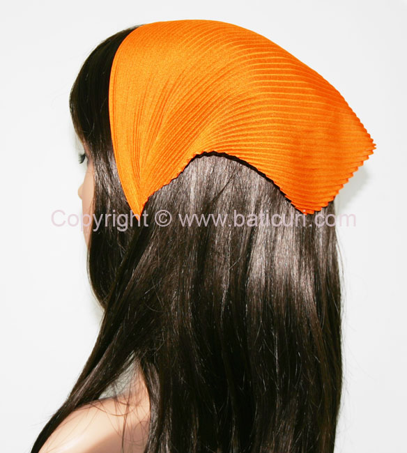 Italian Pleated Solid Scarves -Orange