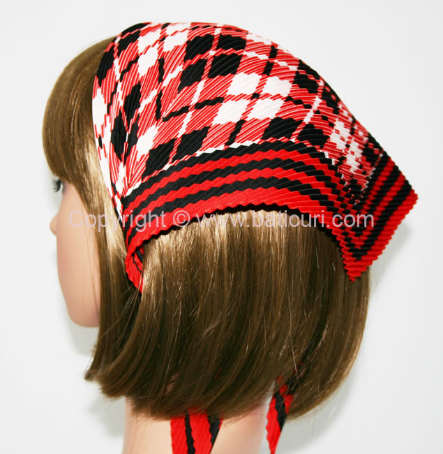 113-73 Italian pleated with plaid designs and border-Red/black/ivory