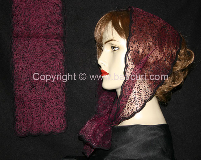 #23-10(S) OB Zig zag-Snow-Small~Maroon with black