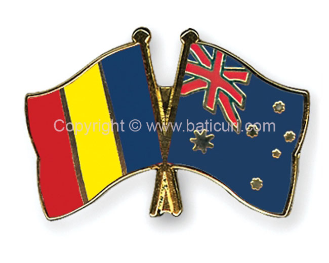 FRIENDSHIP FLAG PIN~Romania & Australia