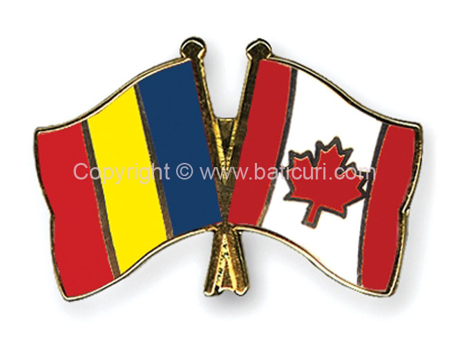 FRIENDSHIP FLAG PIN~Romania & Canada