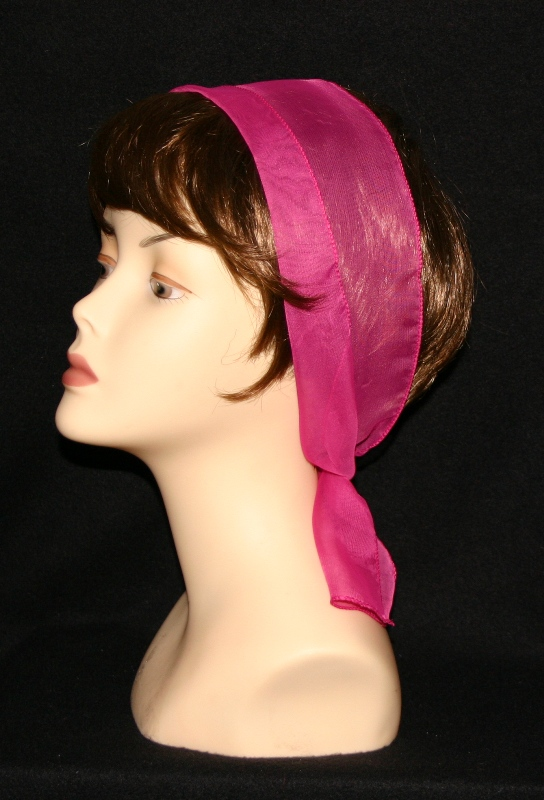 Small Oblong polyester scarves-Hot pink