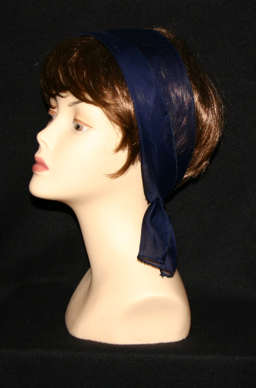Small Oblong polyester scarves-Navy blue