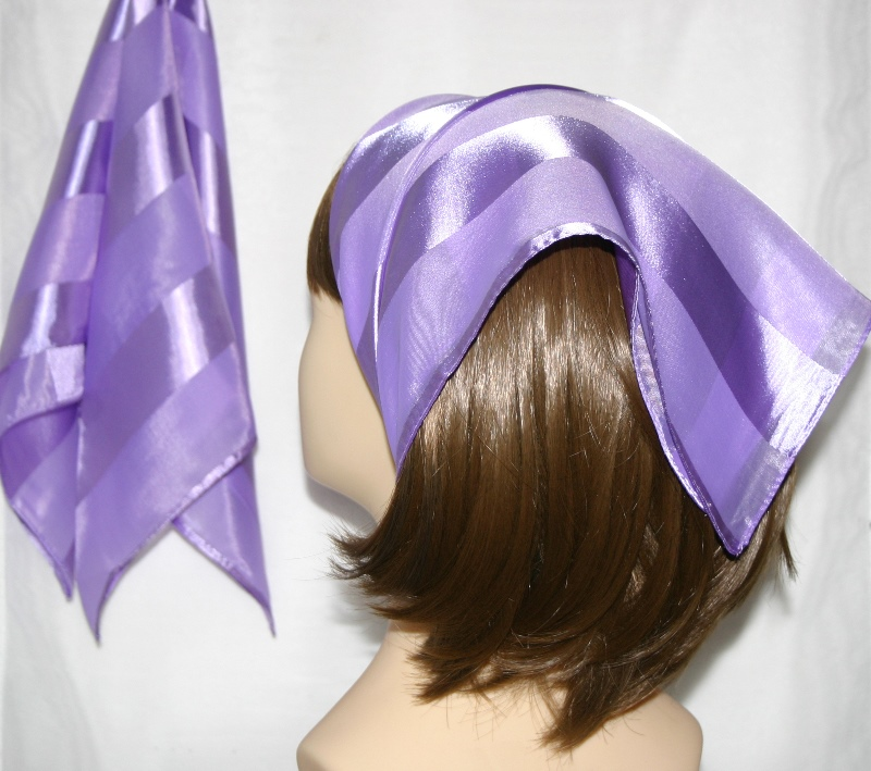 Small Polyester with wide silk stripe-Light Purple