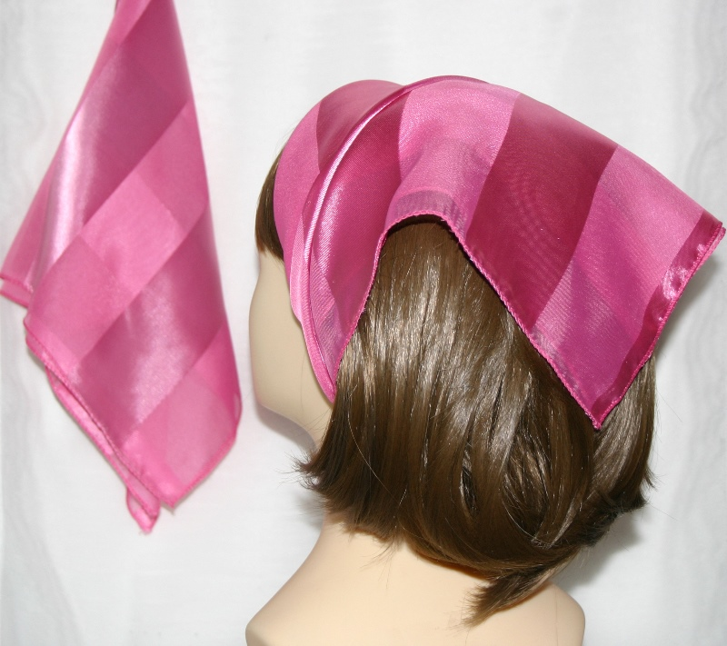 Small Polyester with wide silk stripe-Candy pink