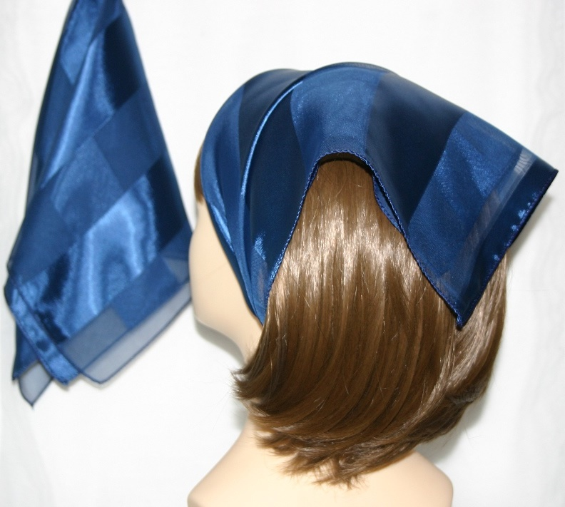 Small Polyester with wide silk stripe-Navy Blue