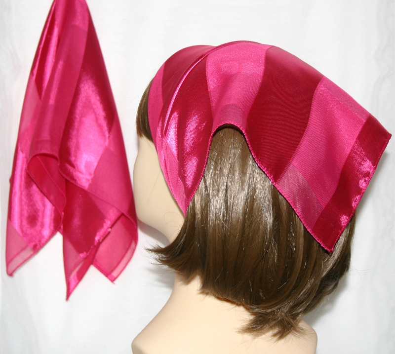 Small Polyester with wide silk stripe-Hot pink