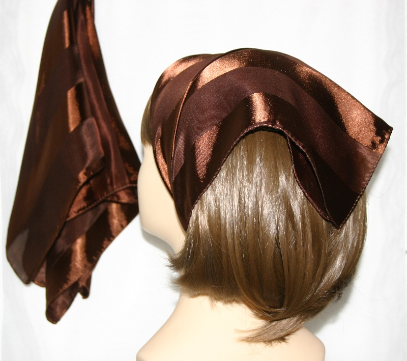 Small Polyester with wide silk stripe-Chocolate Brown