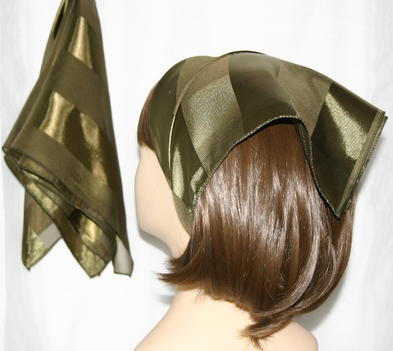 Small Polyester with wide silk stripe-Olive green