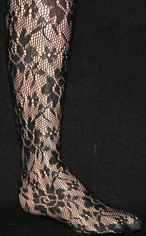 210 -02 Girl's Lacy Pantyhose-Black-L