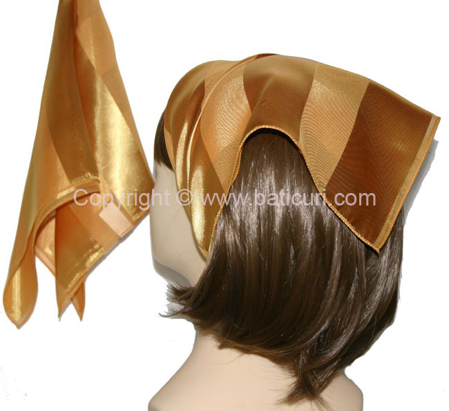 Small Polyester with wide silk stripe-Dusty mustard