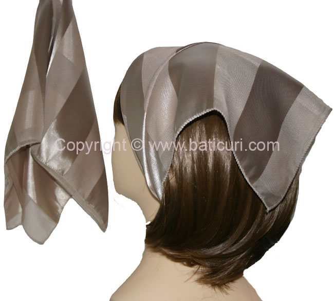 Small Polyester with wide silk stripe-Lt. beige
