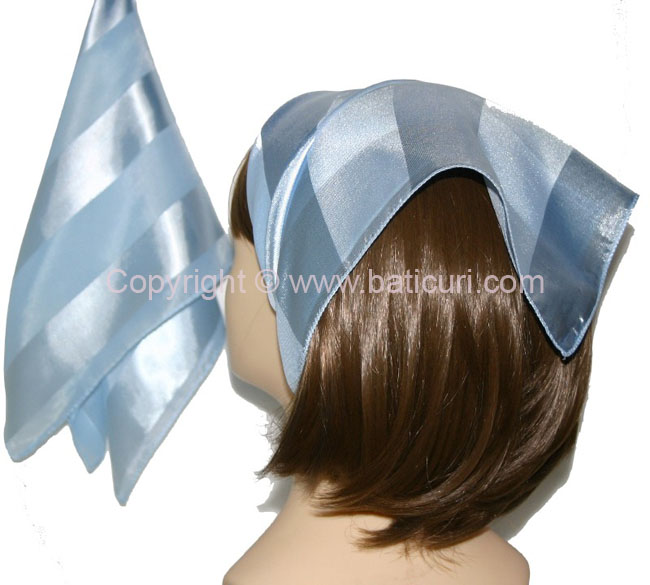 Small Polyester with wide silk stripe-Light Blue