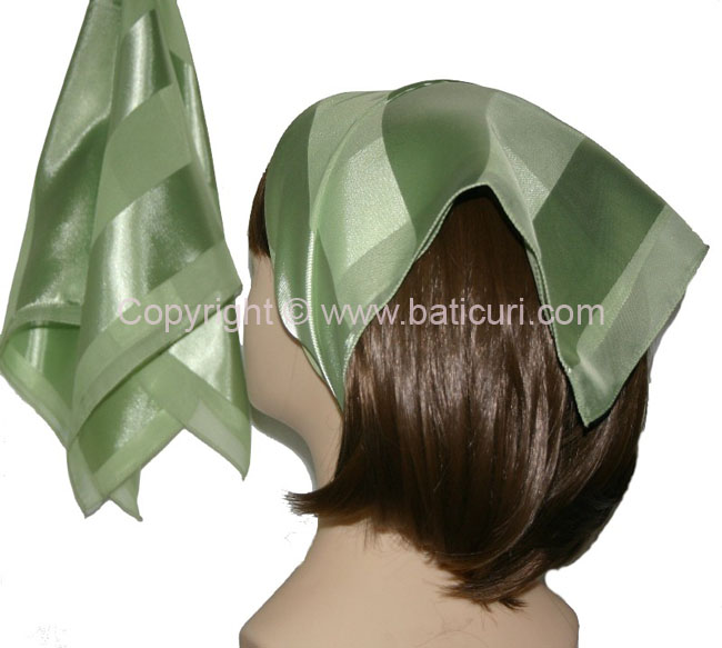 Small Polyester with wide silk stripe-Lt. green
