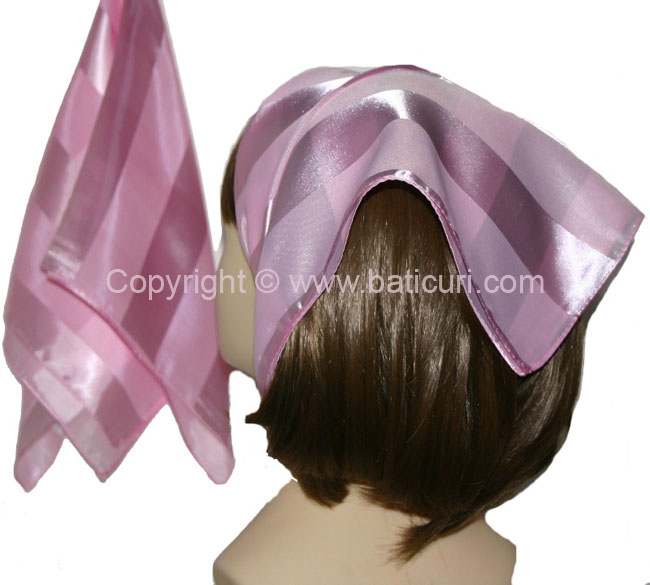 Small Polyester with wide silk stripe-Light Pink