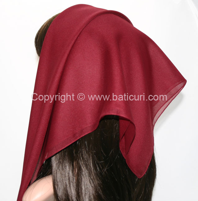116-13 Large SQ Solid Polyester Italian Scarves -Maroon
