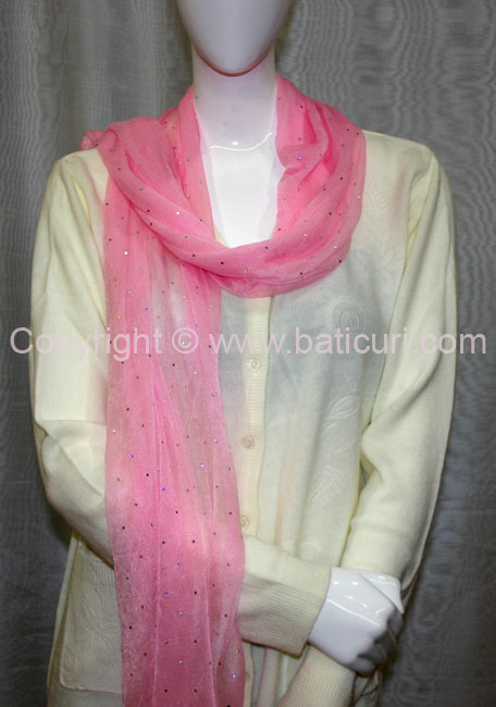 101-02 OB Scarves with small sequence all over-Lt.Pink