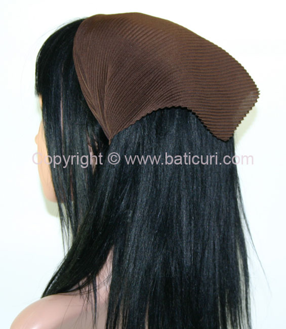 100-141 Italian Pleated Solid Scarves- Brown