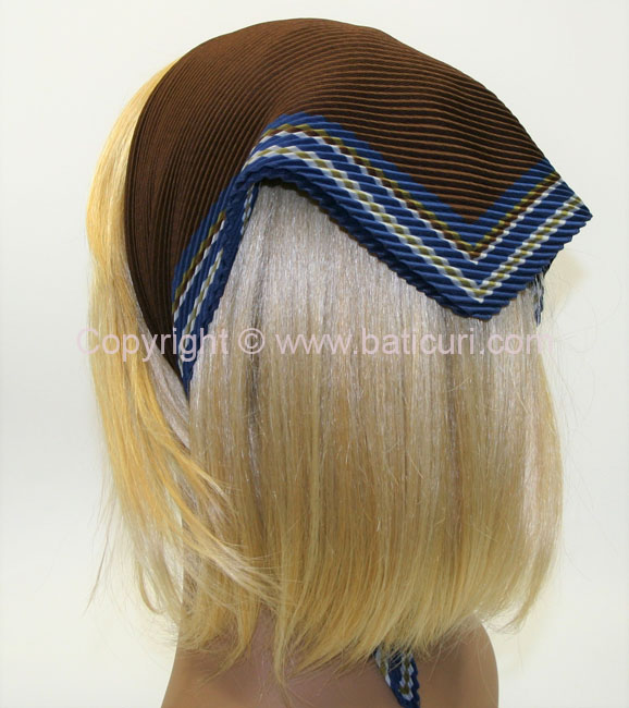 118-98 Pleated Italian Solid- Brown with Blue Multi-Striped Border