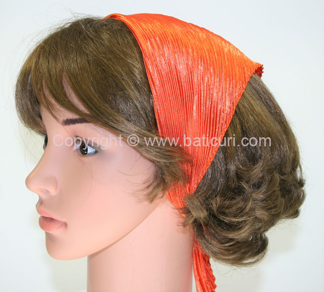 99-120 Polyester Silky Feel Pleated Scarves- Orange