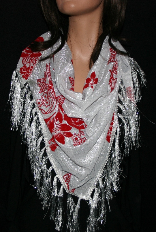 Polyester and Metallic Triangular Scarf-White with red flowers